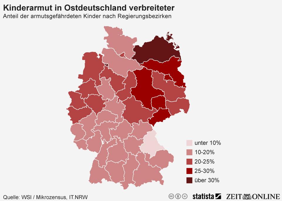 Infografik Verteilung der Kinderarmut in Deutschland nach Regierungsbezirken