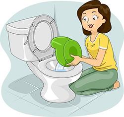 Töpfchen und Toilettenaufsatz zum Trockenwerden