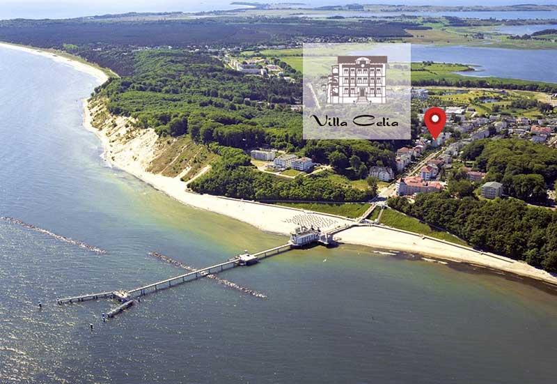 Luftaufnahme Seebrücke Sellin Villa Celia