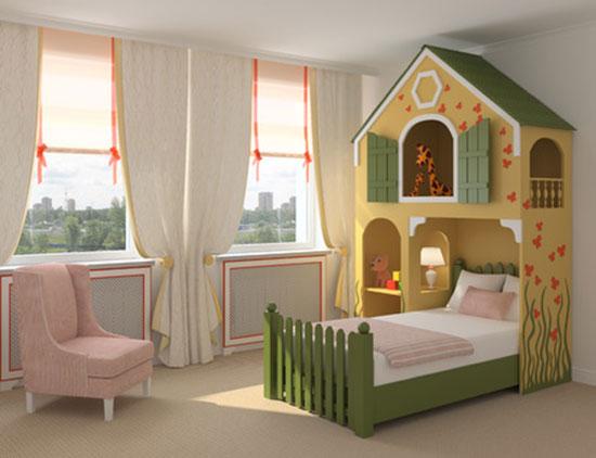 Lustiges Kinderbett für Mädchen