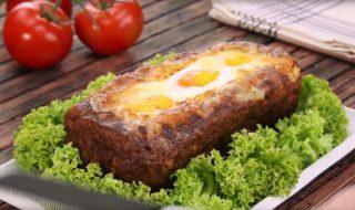 Falscher Hase mit Ei, Käse, Schinken - Hackbraten